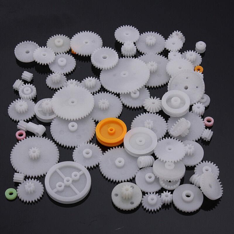 60 tlg Zahnrad Set Modellbau RC Roboter Zahnräder Satz Welle Antrieb Zahnriemen