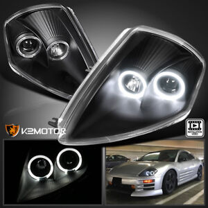 2000-2005 Mitsubishi Eclipse Dual Halo Projector Headlights Black Left+Right