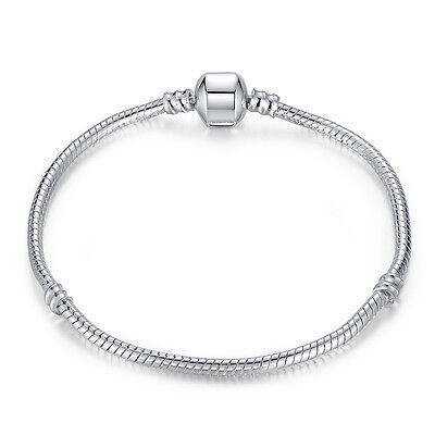 18cm Women Hot 925 Silver Snake Chain Bracelets Bangle Fit European Beads Charm