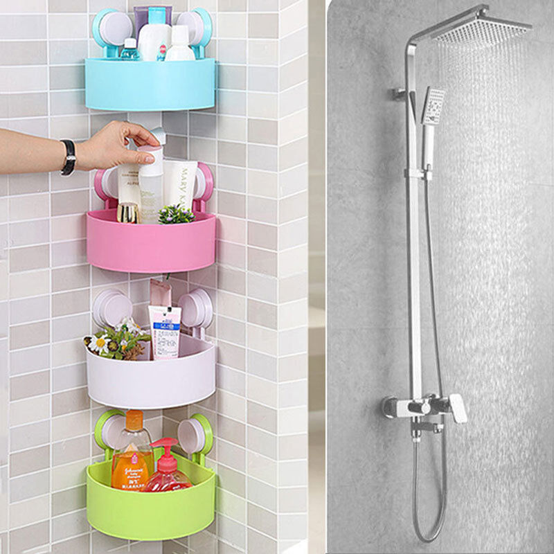 Bathroom Shower Corner Shelves: Bathroom Kitchen Plastic Shower Suction Cup Corner Shelf