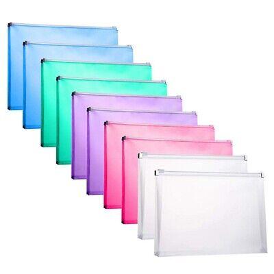 10 Packs Plastic Zip Envelopes Letter Size Holder File Document Receipt Env P1j9