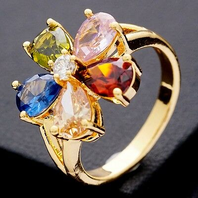 ( Multi-Color Teardrop Cubic Zircon 20*20 mm Stone Gold Plated Girl Flower Ring)