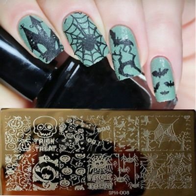 Nail Art Stamping Plates Image Plate HALLOWEEN Pumpins Bat Skull Spider web SP08](Halloween Pumpins)