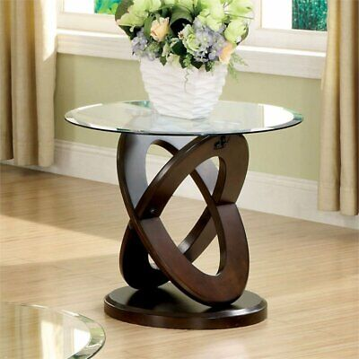 Furniture of America Darbunic Glass Top End Table in Dark (Glass Walnut End Table)