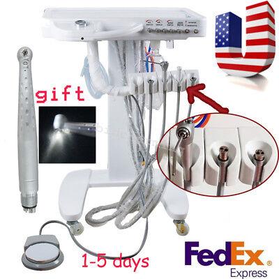 Usa Portable Dental Delivery Unit Cart Treatment Syringe 4 Hole Led Handpiece