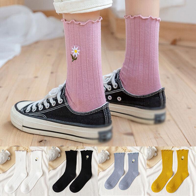 Women Girl Middle Short Tube Socks Flower Cotton Solid Color