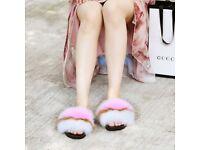 DAYMISFURRY --- Fox Fur Slippers-Peach Pearl