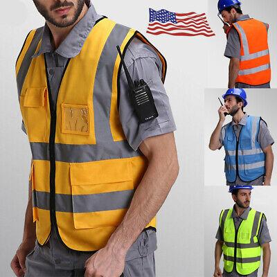 Hi Vis Safety Vest Waistcoat High Visibility Reflective Fluorescent Construction