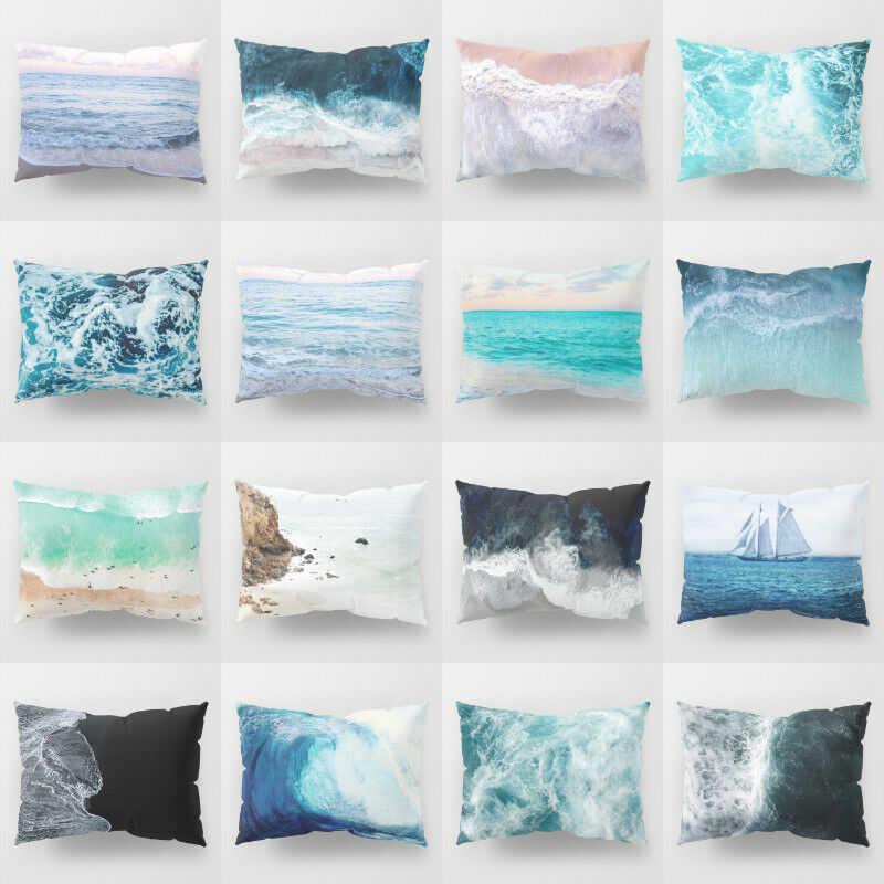 Ocean Beach Cushion Cover Polyester Pillows shams case Cover