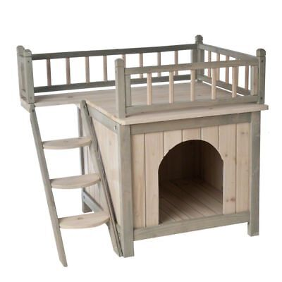 Indoor Wooden Dog Cat House Den 2 Tier Roof Terrace Cosy Bed With Stairs Pet Hut