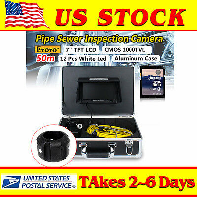 7 Lcd 50m Sewer Video Recording Camera 1000tvl Drain Pipe Inspection Dvr 8g Cam