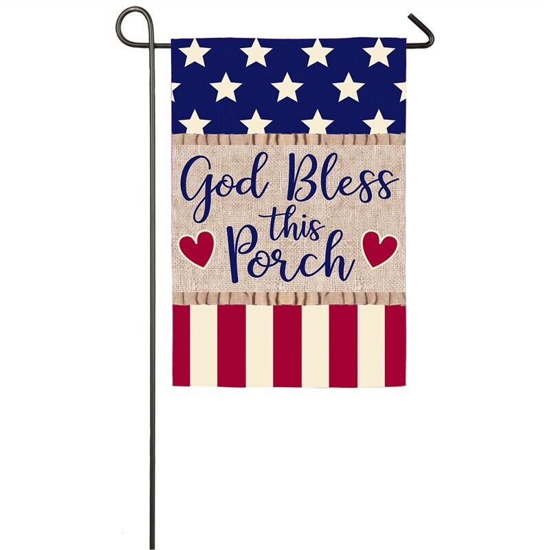 God Bless This Porch Garden Flag Patriotic Outdoor Decor