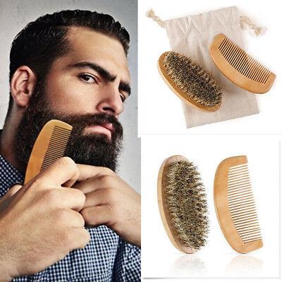 Boar Bristle Beard Brush and Handmade Beard Comb Kit for Men Beard Mustache