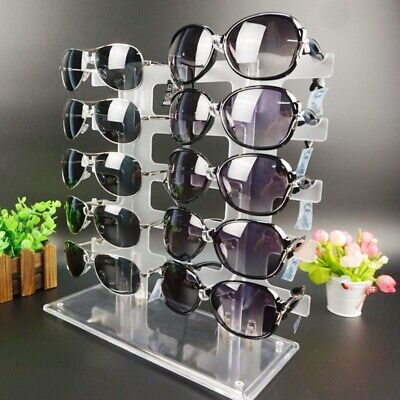 Two Row Sunglasses Rack 10 Pairs Glasses Holder Display Stand Transparent