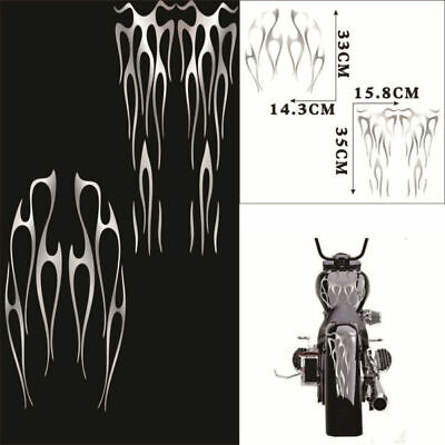Removeable Self Adhesive Motocycle Flame Sticker Decals Kit Vinyl Matte Silver