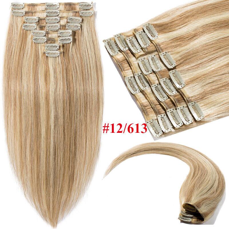 50CM 60CM Echthaar Clip In Extensions Remy Haar Haarverlängerung 8 teilig Set DE #12P613 Goldbraun&Hellblond