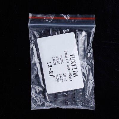 60 Pcs 24c02 24c04 24c08 24c16 24c32 24c64 6 Kinds Memory Ic Sop Smd Kit