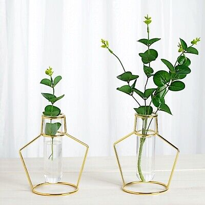 2 GOLD Geometric Flower Vase Holders with Clear Glass Tubes Wedding Centerpieces