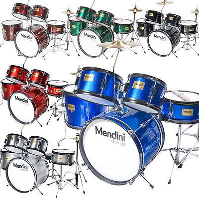 Mendini 5-Pcs Junior Kids Drum Set +Throne, Cymbal ~Black Blue Green Silver Red