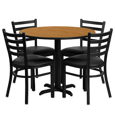 Restaurant Table Chairs 30 Natural Laminate With 4 Ladder Back Metal Chairs