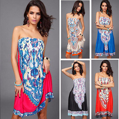 Sexy Women Summer Printing  Swimsuit Cover Up Beach Party Dress HOT Plus Size