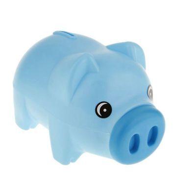 Blue Plastic Piggy Bank (Plastic Blue Piggy Bank Animal piggy bank Treasury Saving Coin Coins Money A5N9)