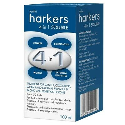 Harkers 4 in 1 soluable, cocci, canker, worms and lice. Racing pigeon