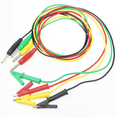 4 X 3.3ft 1m Alligator Clip To Banana Plug Test Cable Wire Connector Multimeter