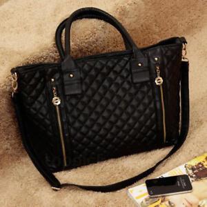 New Ladies Women's Celeb Leather Designer Shoulder Tote Bag Large Handbags Black