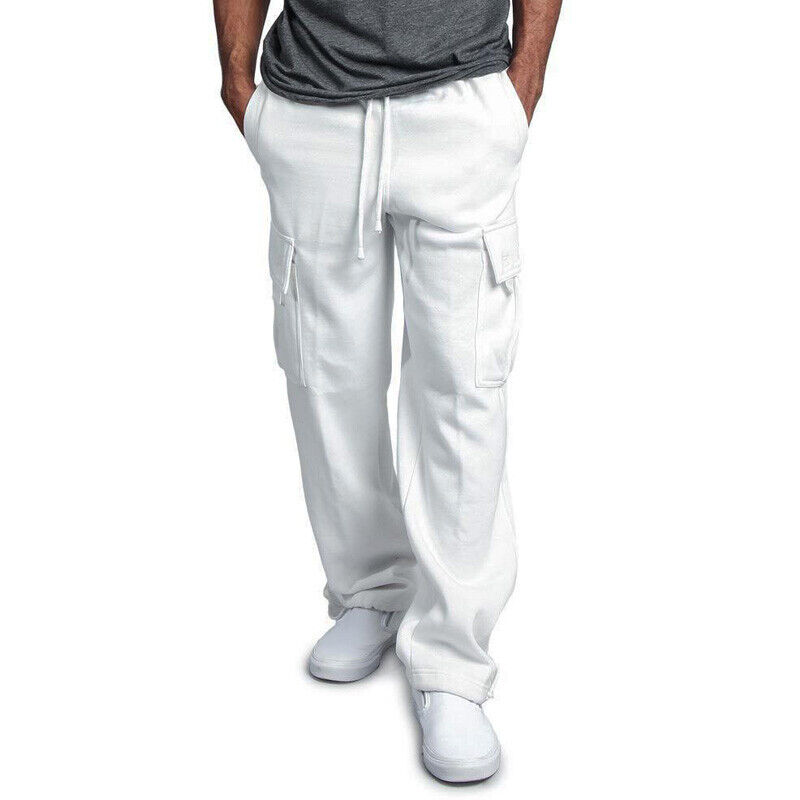 Men Sweat Pants Casual Sports Baggy Solid Trousers