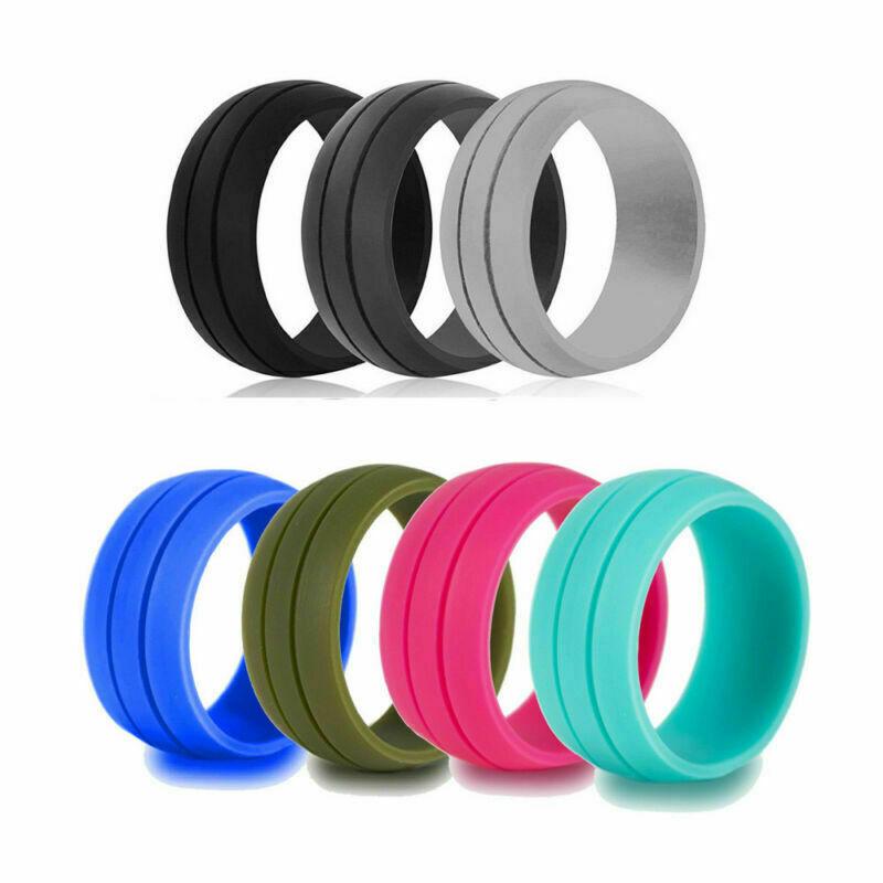 Unisex Silicone Wedding Ring Men Women Engagement Sport Rubber Band Size 6-12