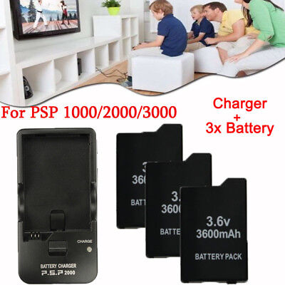 LOT 3.6V 3600mAh Battery + Wall Charger for Sony PSP 2000 2001 1000 3000 Series ()