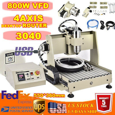 Usb 4 Axis 800w Vfd Engraver Engraving Woodwork Milling Machine Cnc 3040 Router