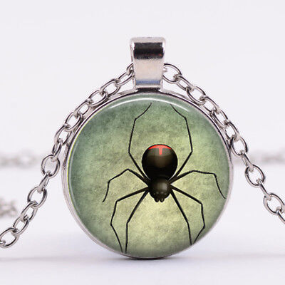 Black Widow Pendant Halloween Spider Glass Dome Chain Pendant Necklace Silver - Black Widow Necklace