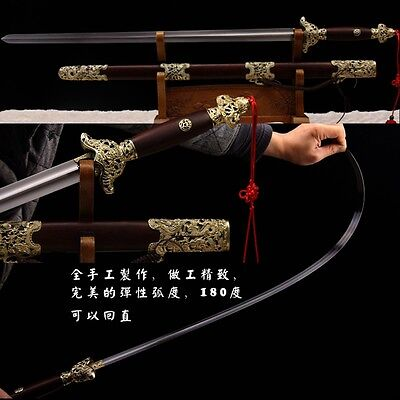"TOP HANDMADE CHINESE SWORD ""TAI CHI JIAN "" GOOD TOUGHNESS COPPER FITTINGS-0230"