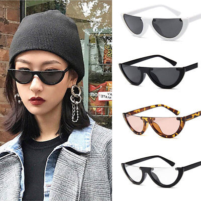 Small Vintage Cat Eye Women Retro Designer Sunglasses Half Frame Eyewear Glasse