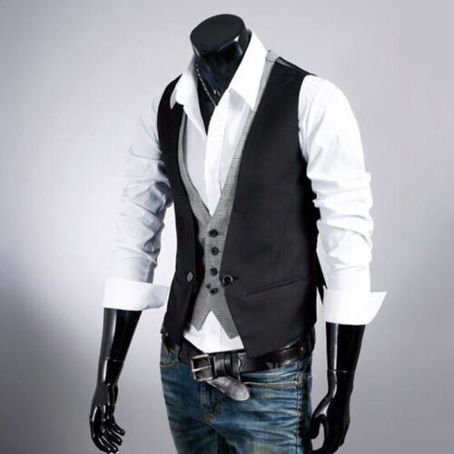 Mens Double Breasted Herringbone Peaky Blinders Check Waistcoat Party Dress Vest Clothing, Shoes & Accessories