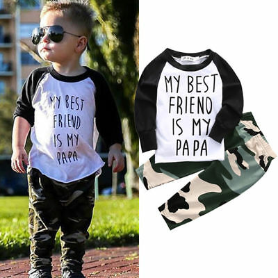 Baby Kid Boy Cool Camouflage Clothes T-shirt Tops +Camouflage Pants  Outfit Set (Cool Baby Outfit)