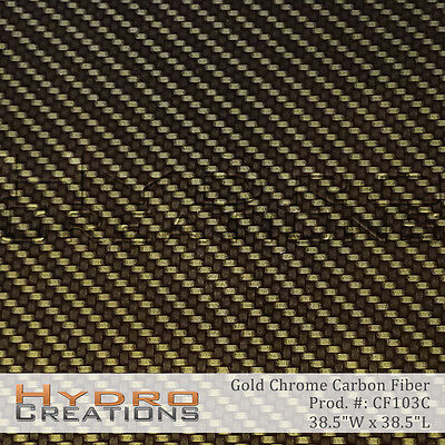 Hydrographic Film Hydro Dip Water Transfer Gold Chrome Carbon Fiber 38.5x38.5