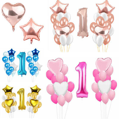 25Stk First 1st Rosa Blau Gold Sterne Alles Gute Zum Geburtstag Latex Ballon Set ()