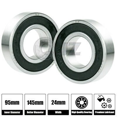 2x 6019-2rs Ball Bearing 95mm X 145mm X 24mm Rubber Seal Premium Rs 2rs Qjz