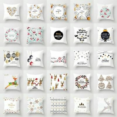 18'' Merry Christmas Pillow Case Polyester Sofa Throw Cushion Cover Home Decor ()
