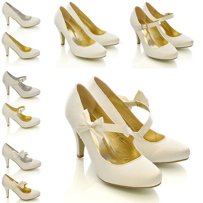 Womens Bridal Shoes Wedding Classic Heel Pumps Ladies Satin Bow Party Courts 3-9 Bridal Satin Pumps