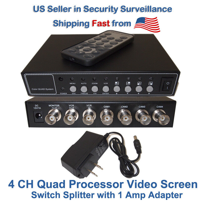 4 Channel/Port Analog Video Security Camera Cctv Color Quad Splitter Processor