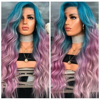 Sexy Girl  Curly Wavy Full Wig Synthetic Hair Rainbow Colorful Wigs Ombre Wigs](Colorful Wigs)