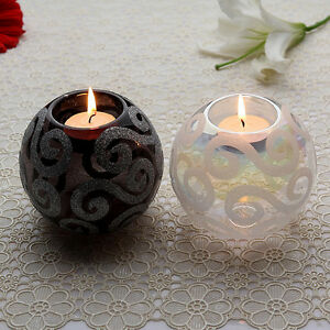 White-Black-Glass-Ball-tealight-Candle-holder-home-decoration-wedding-decor