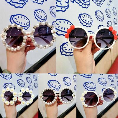 Fashion Vintage Womens Sunglasses Pearl Flower Retro Round Beach Shades (Beach Eyewear)