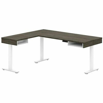 Bestar Pro-vega L Shaped Adjustable Standing Desk In Walnut Gray And White