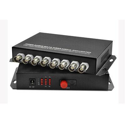 1Pair 8Channel Video Audio Data Fiber Optic Media Converter Transmitter - Video 1 Channel Audio