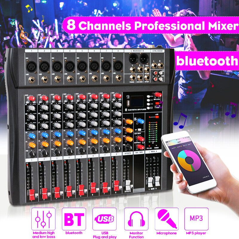 8 Channels Professional Live Studio Audio Mixer bluetooth USB Mixing